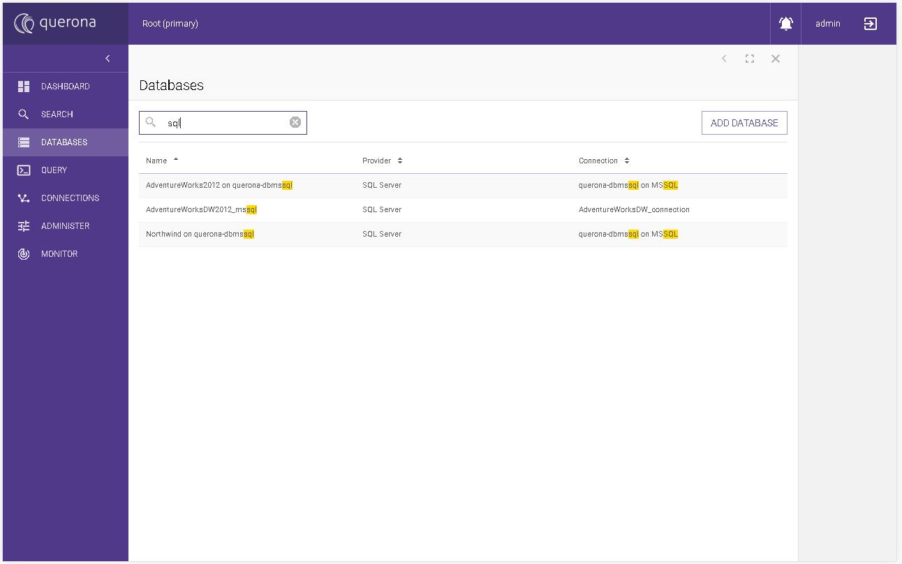 Managing the database — Querona documentation