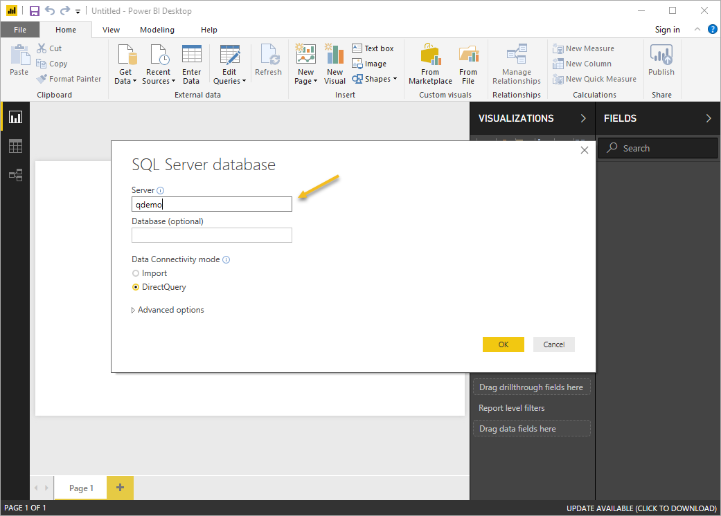 PowerBI enter server name
