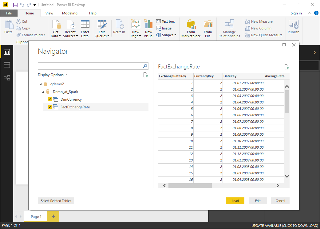 PowerBI choose database